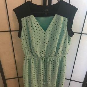 Mint & Navy Polka Dot Midi Dress